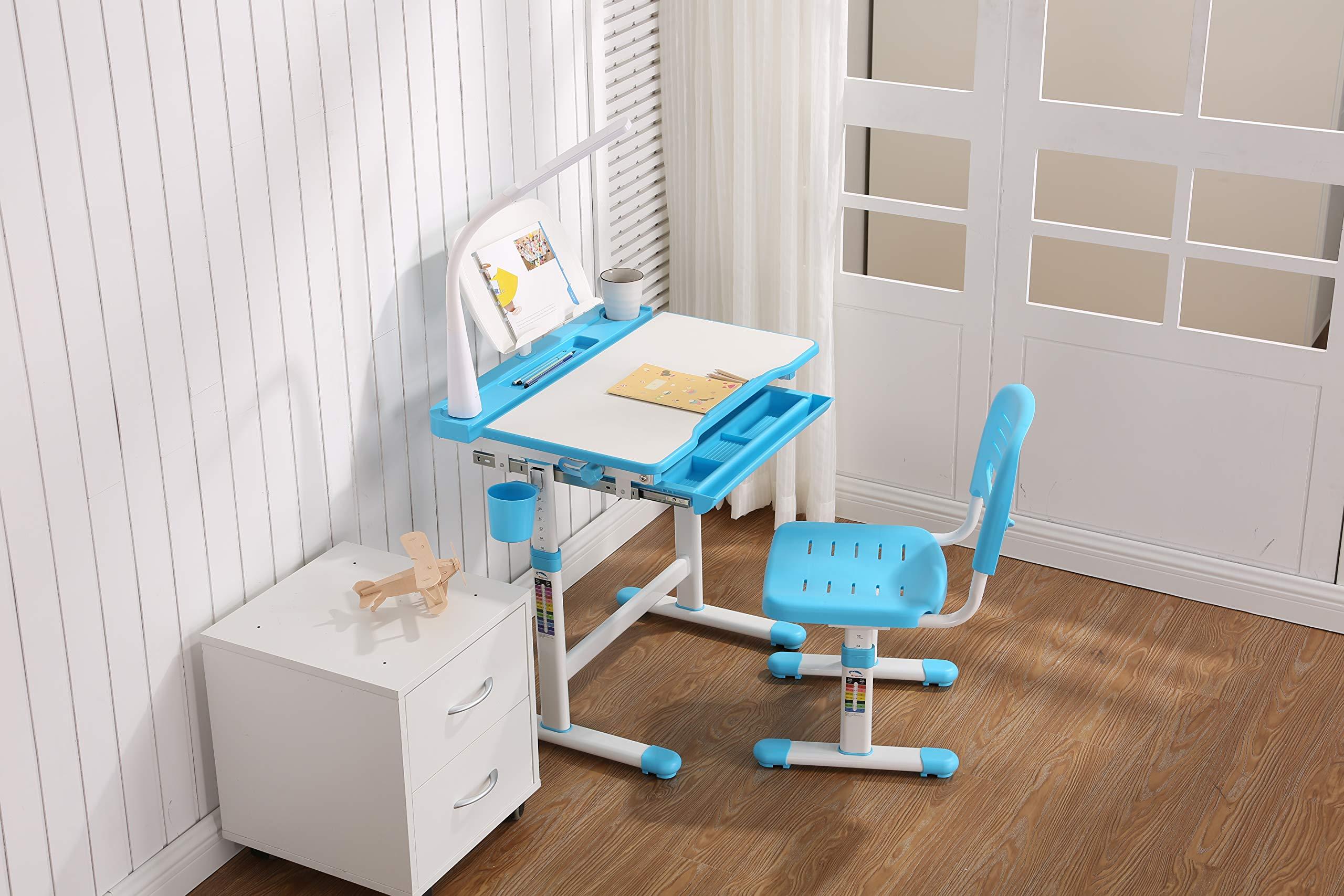 Estink Children Study Desk Chair Set Adjustable Height Rotation Anti-slip Kids Comfortable Learning Table with UK Plug Lamp 100-240 V Blue