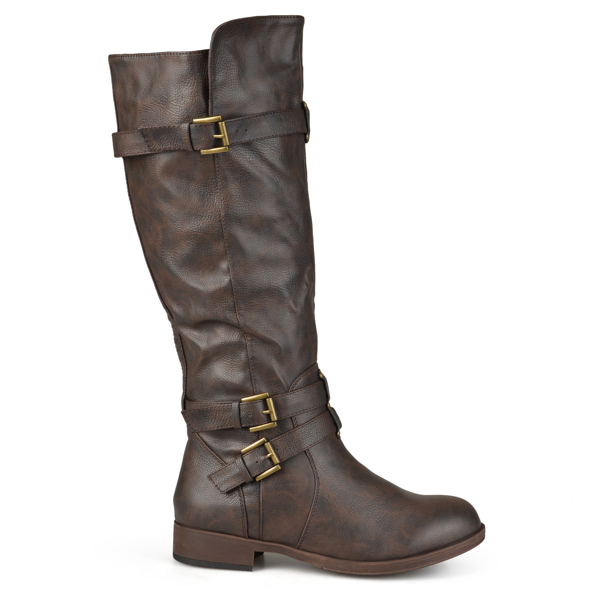 Brinley Co Women's Buffalo Knee High Boot, Brown, 8.5 Wide/Wide Shaft US