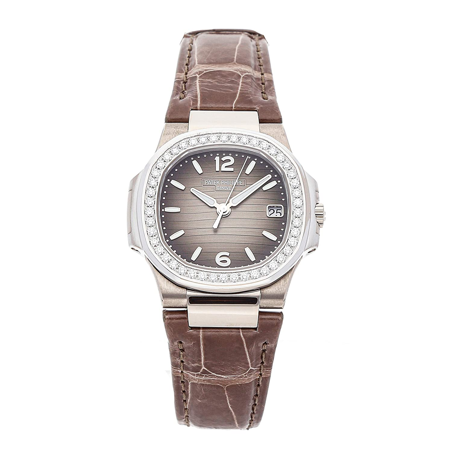 Patek Philippe Nautilus Quartz (Battery) Grey Dial Womens Watch 7010G-012 (Certified Pre-Owned)