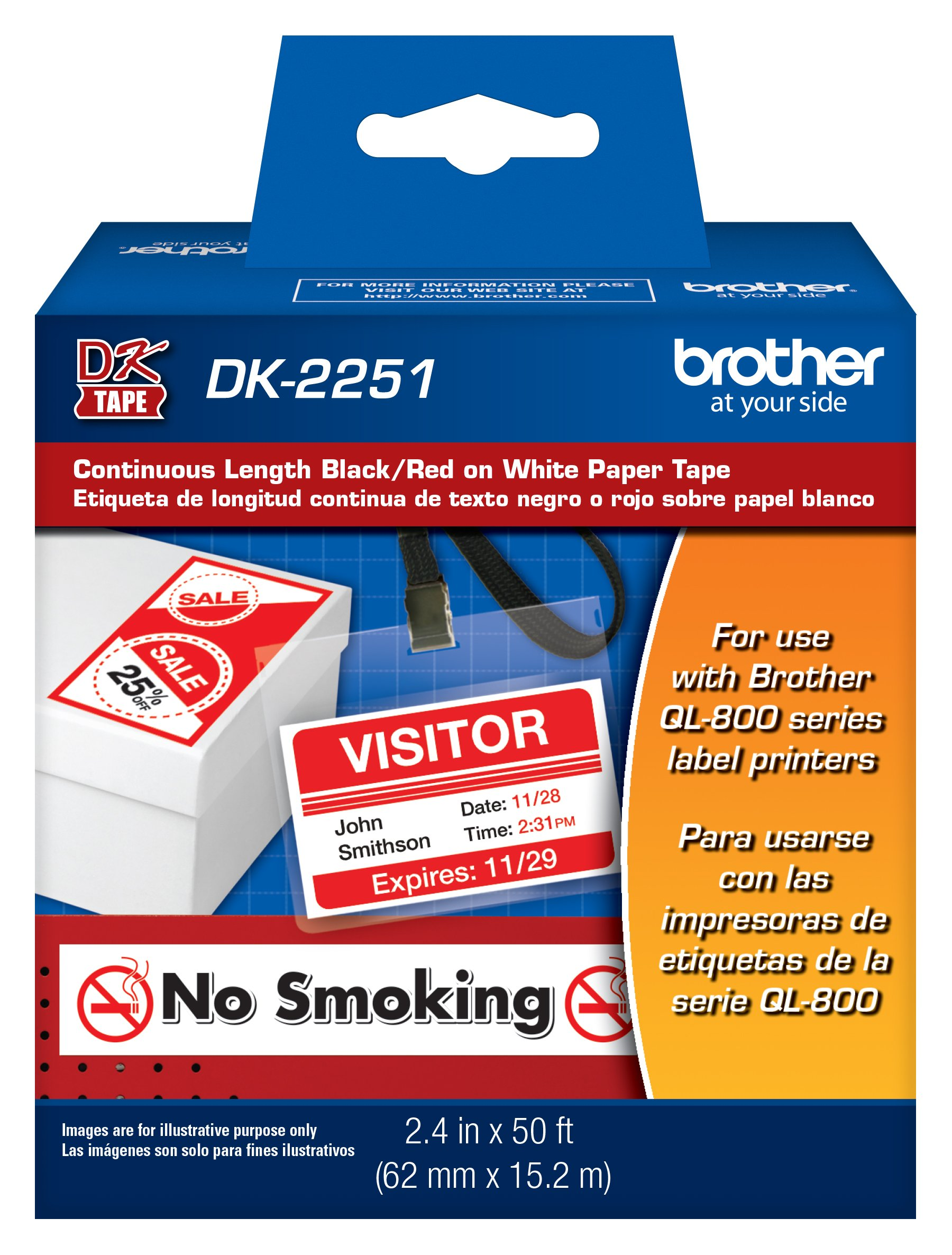 """Brother Genuine DK-2251 Continuous Length Replacement Labels, Black/Red Label on White Paper Tape, Engineered with Excellence, 2.4"""" x 50 feet, 1 Roll per Box"""