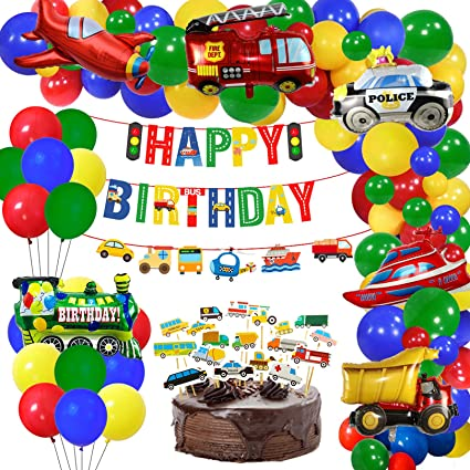 Police Car Airplane Banner Transport Vehicles Balloons for Boy Birthday Decor