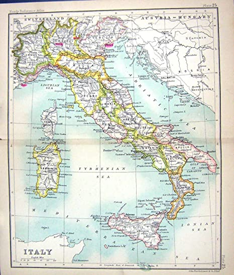 photo regarding Printable Map of Sicily identify Previous Primary Antique Victorian Print Map C1901 Italy Corsica