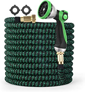 Expandable Garden Hose 100FT with 10 Function Nozzle Water Hose, Tough 3750D Flexible Hose with Leakproof 3/4