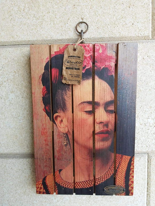Cuadro en madera de palet FRIDA KHALO hecho a mano: Amazon ...
