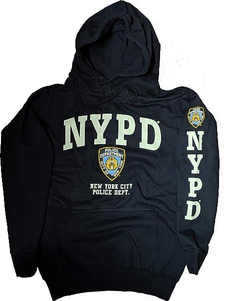 95a9cd8b NYC FACTORY NYPD Hoodie White Sleeve Print Sweatshirt Navy Blue 3XL