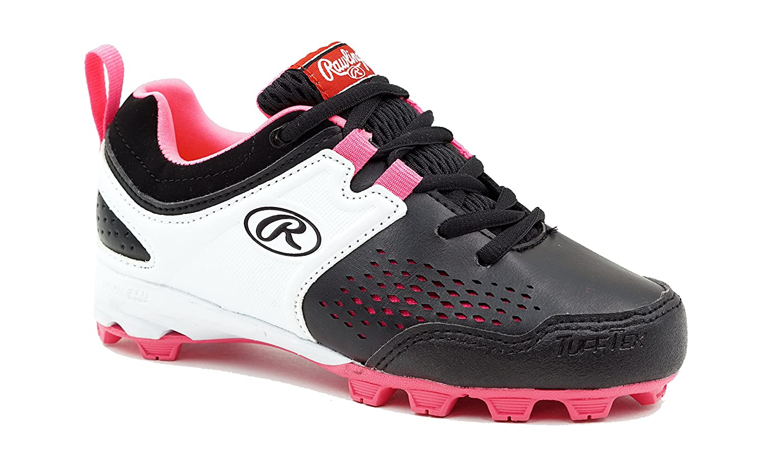 Rawlings Girls' Clubhouse Baseball Shoe, Black/Pink, 2.5 Child US Little Kid 5561GBKPK