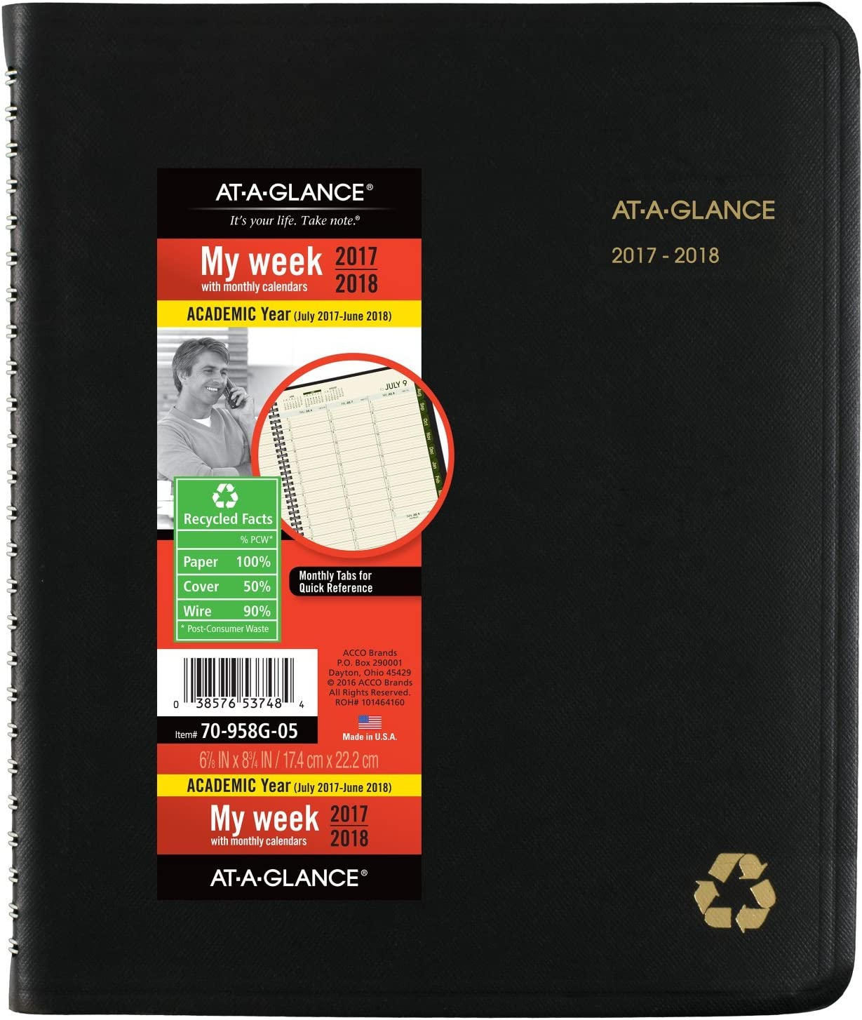 """AT-A-GLANCE Academic Weekly / Monthly Appointment Book / Planner, Recycled, July 2017 - June 2018, 6-7/8"""" x 8-3/4"""", Black (70958G05)"""