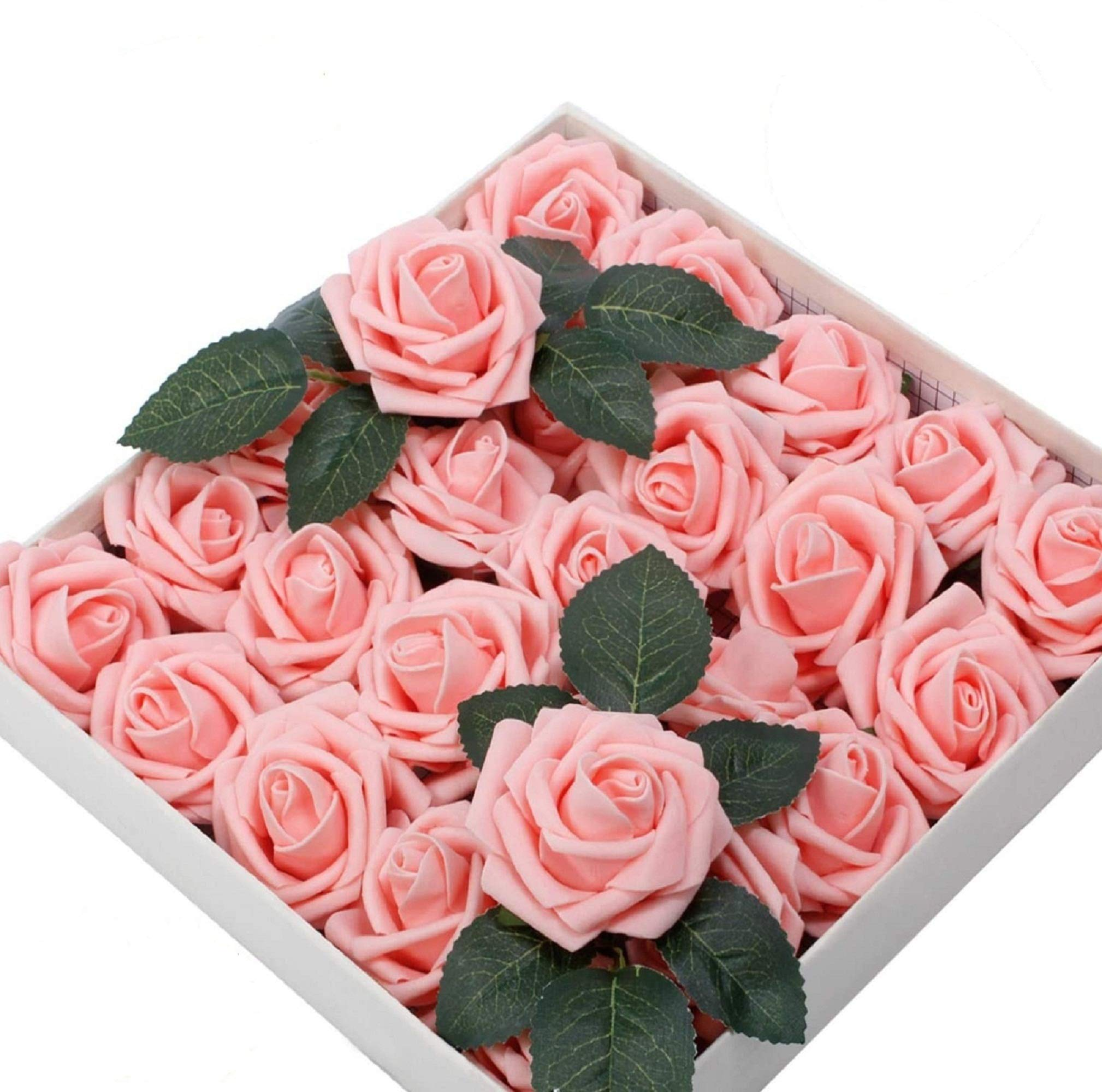 60pcs Artificial Flowers Roses Real Touch Fake Roses for DIY Wedding Bouquets Bridal Shower Party Home Decorations…