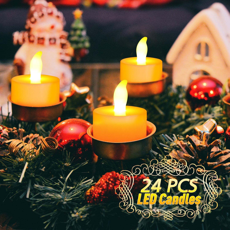 Candle LED, UBEGOOD Candele senza Fiamma LED con Luce Bianca con Tremolio Realistico Cera a Batteria Decorazioni per San Natale Valentino Halloween Compleanni Anniversario Set di 24 pz