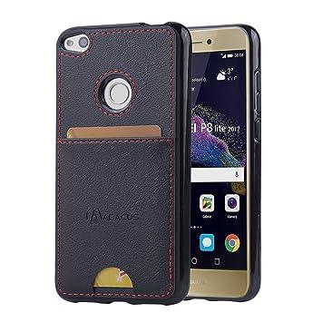 "Abacus24-7 Huawei P8 Lite (2017) Funda, Ultrafina Carcasa Back Pocket"" TPU con Tapa Trasera Piel Vegana y Bolsillo Tarjetero - Negro"