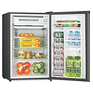 Lorell LLR72313 Compact Refrigerator, Can Dispenser, Dial Control, Manual Defrost, 3.3 cubic feet, Black