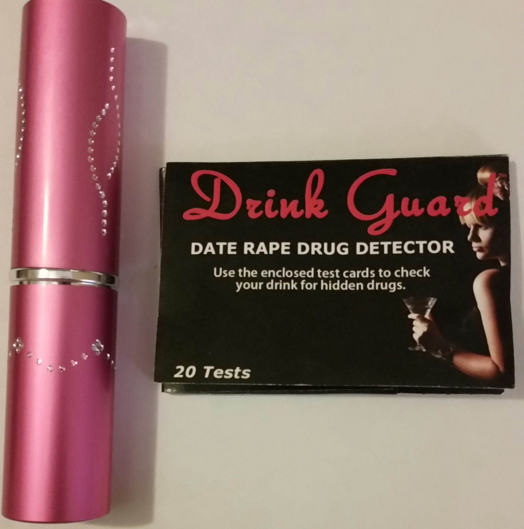 Personal Safety 3 Million Volt Pink Lipstick Stun Gun With Drug Detector Test Cards