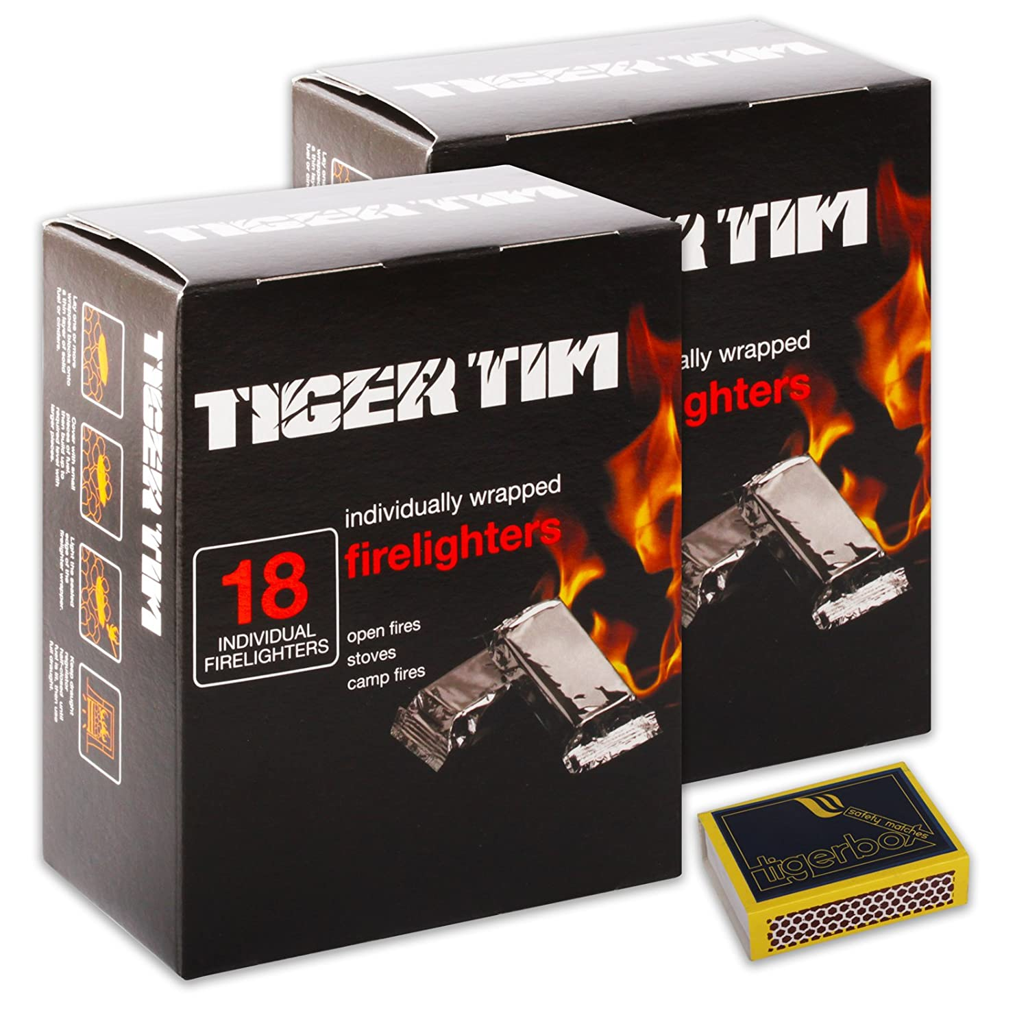 1 X Pack of FAST ODOURLESS NO MESS Individually Wrapped Tiger Tim Firelighters & Tigerbox Safety Matches Tiger Tim / Tigerbox