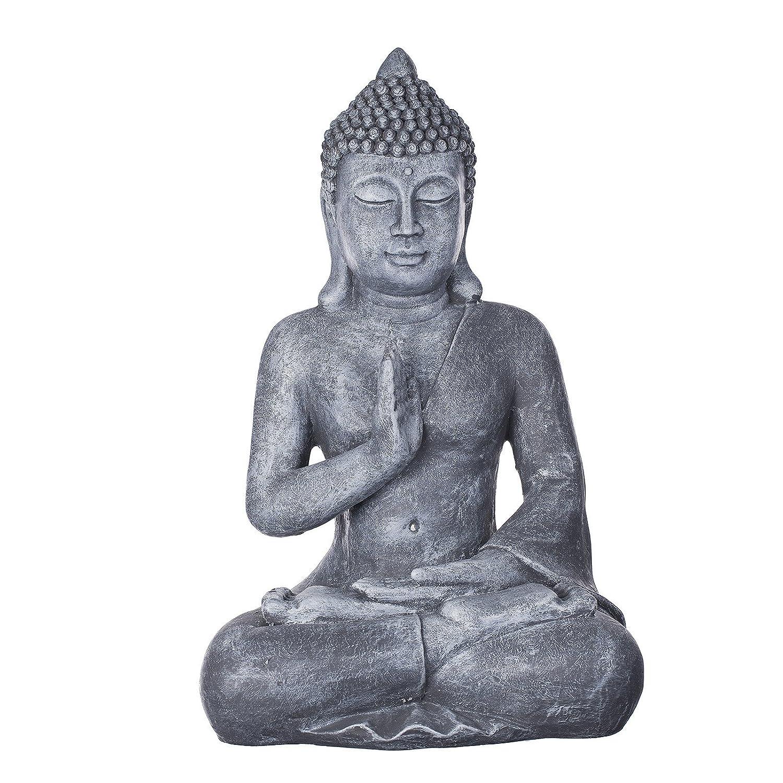 Buddha 56 cm hoch B4002 Steingrau Deko Buddha Figur XL für Innen und Außen