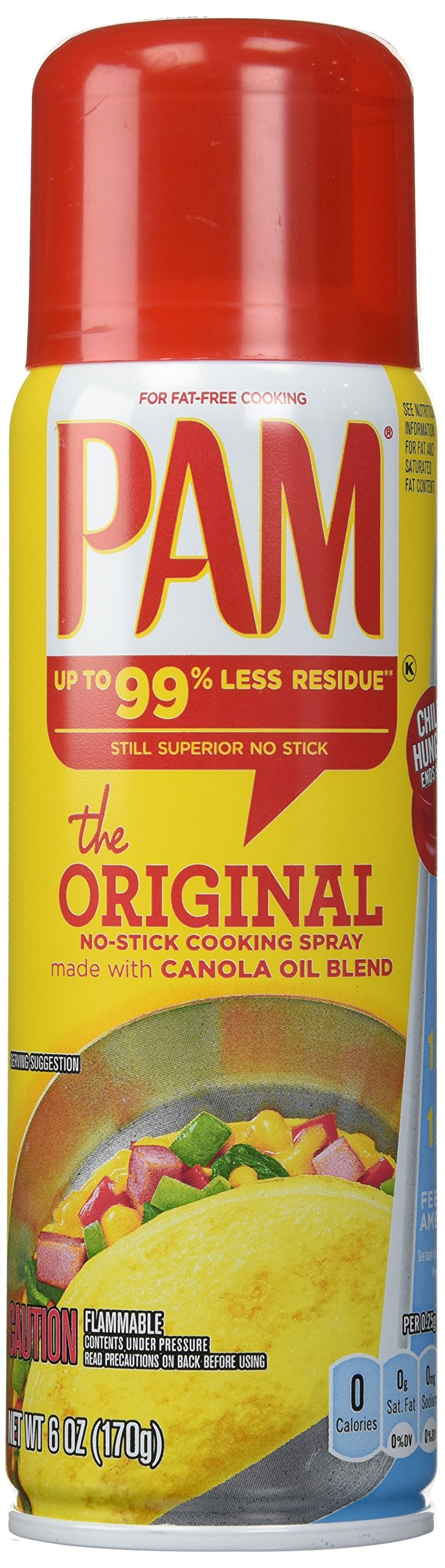 Pam No-Stick Cooking Spray - Original - Made With Canola Oil - Net Wt. 6 OZ (170 g) Each - Pack of 2