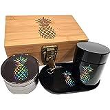 Pineapple Stash Box Combo with Lock - Glass stash jar Locking Stash Boxes - Engraved Wood Bamboo Box - Smell Proof Stash Box