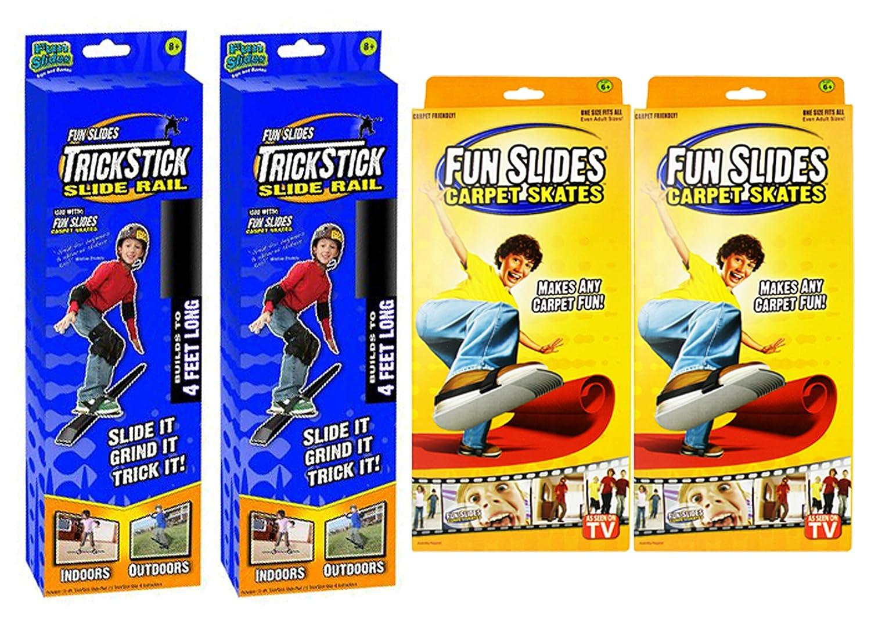 楽しいスライドカーペットスケート&楽しいスライドレールランプのセット 裏返して楽しんでください! テレビで見られるように。  2 Pairs Skates & 2 Rails B07HJC5HWF