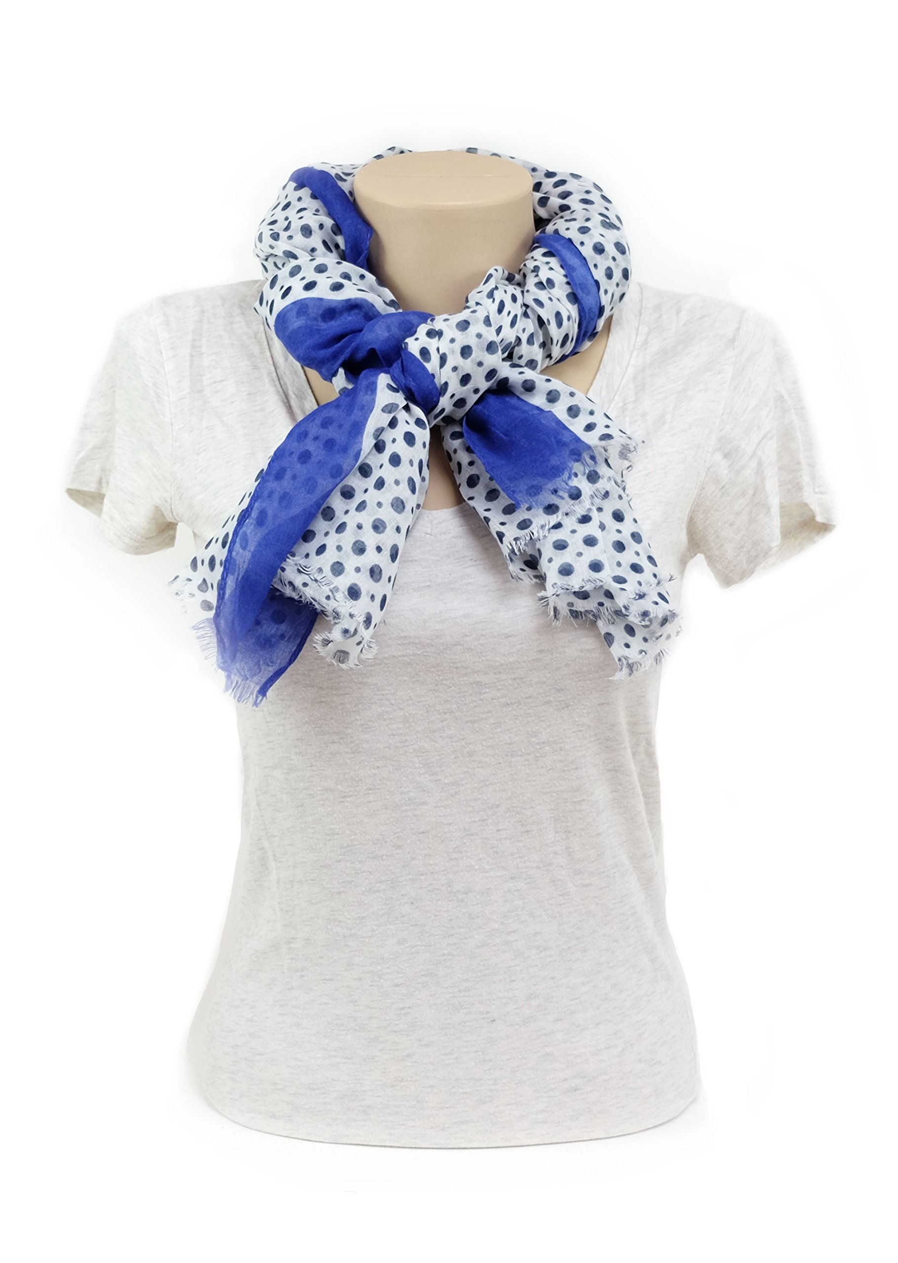 Scarves for Women by MIMOSITO Fashion Lightweight Elegant Geometric Patterned Wrap (Polka Dot-Blue) by MIMOSITO (Image #5)