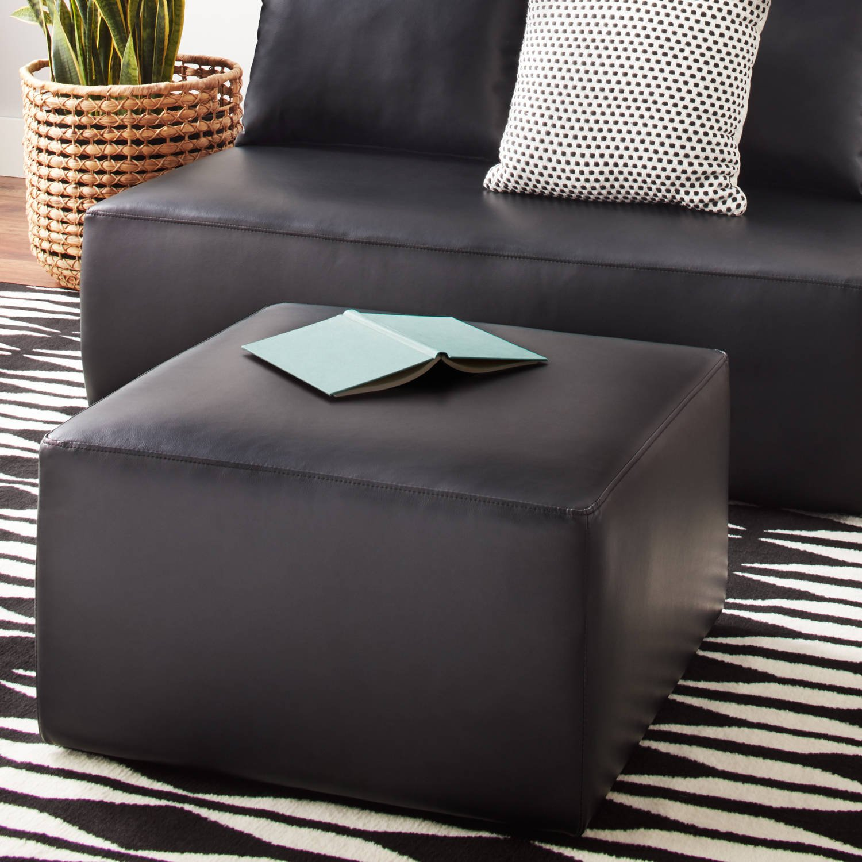 Mainstays Modular Ottoman Black Faux Leather