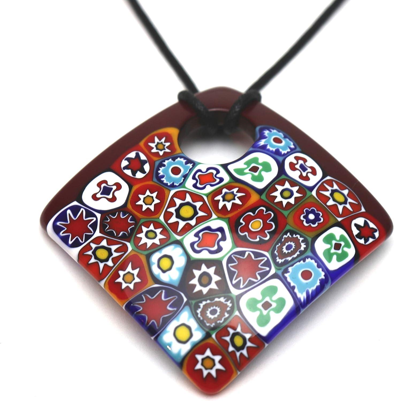 Murano Glass Square Pendant Necklace Red Millefiori Murrine