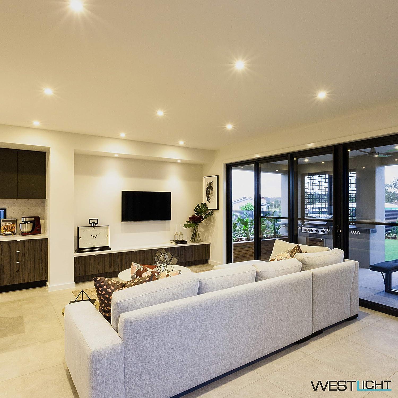 Westlicht LED Einbaustrahler 6er Set 4W 400lm 2700K 230V flach mit extraleichter SMD Technik Deckenstrahler Deckenspots Einbauspots LED Strahler LED Spot LED Deckenleuchte LED Spots LED Beleuchtung