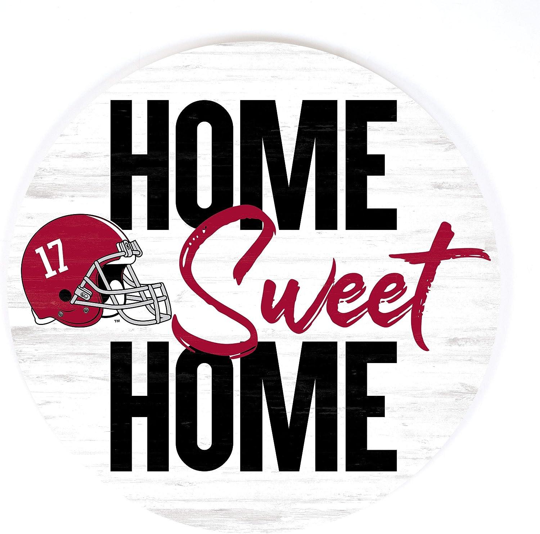 P. Graham Dunn Home Sweet Home Football University of Alabama Crimson Tide NCAA 17 x 17 Wood Barrel Top Sign