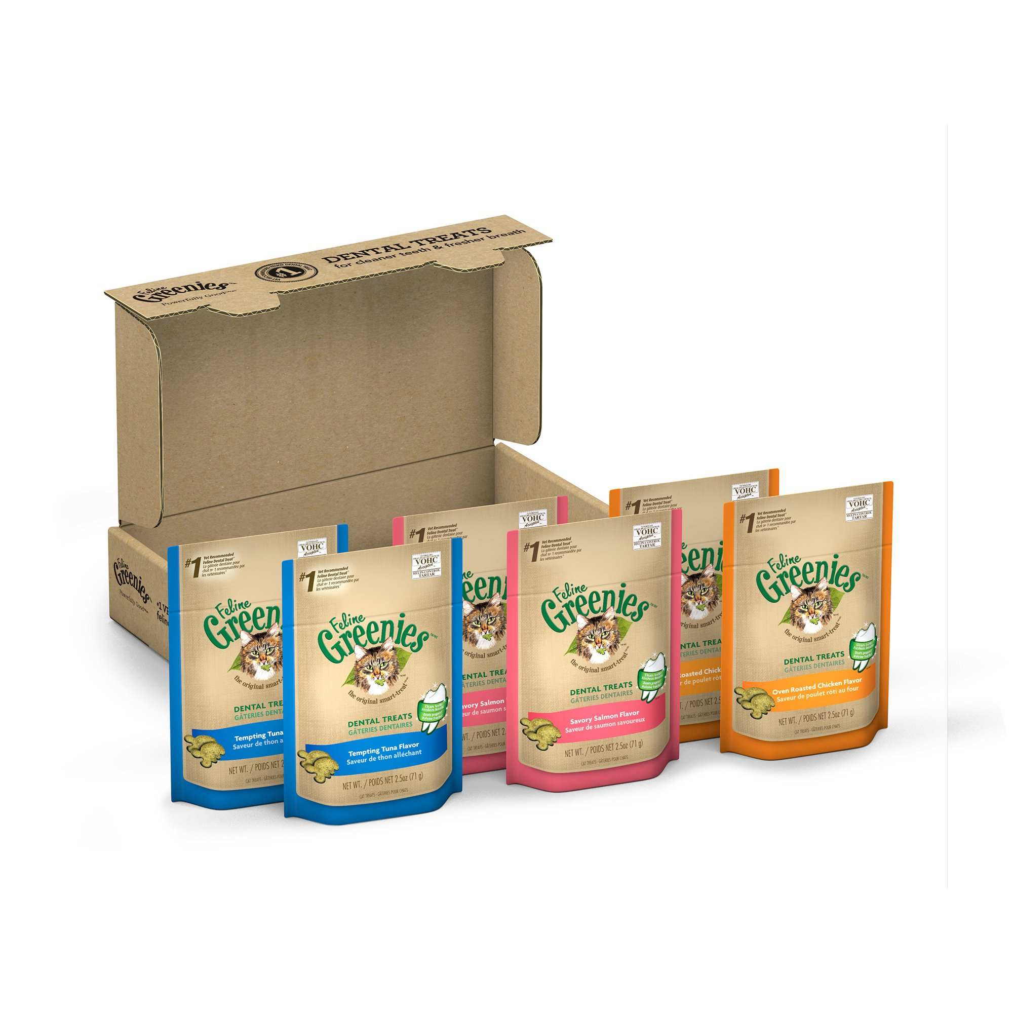 Greenies FELINE 3-Flavor Variety Pack Dental Treats for Cats 15 Ounces (Pack of 6)