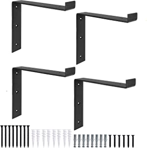 Heavy Duty Steel Floating Shelf Brackets, Undermount Bracket With Lip- Farmhouse Rustic Iron Matte Finish - 4 Pack of 6 x 9.25 Inch Industrial Metal Shelf Holders, Joint Angle Brackets for Wall Shelve