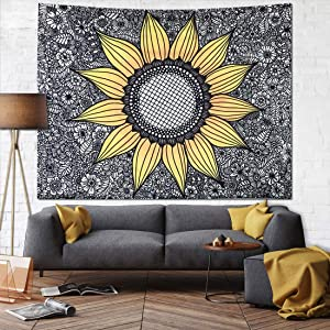 JUSPURBET Sunflower Tapestry Wall Hanging,Wall Tapestry for Bedroom,Yellow Tapestries Dorm Decor for Living Room,Window Curtain Picnic Mat,59x82 Inches