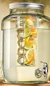 Palais Glassware Mason Jar Beverage Dispenser - Traditional Tin Screw Off Lid - 2 Gallon Capacity -