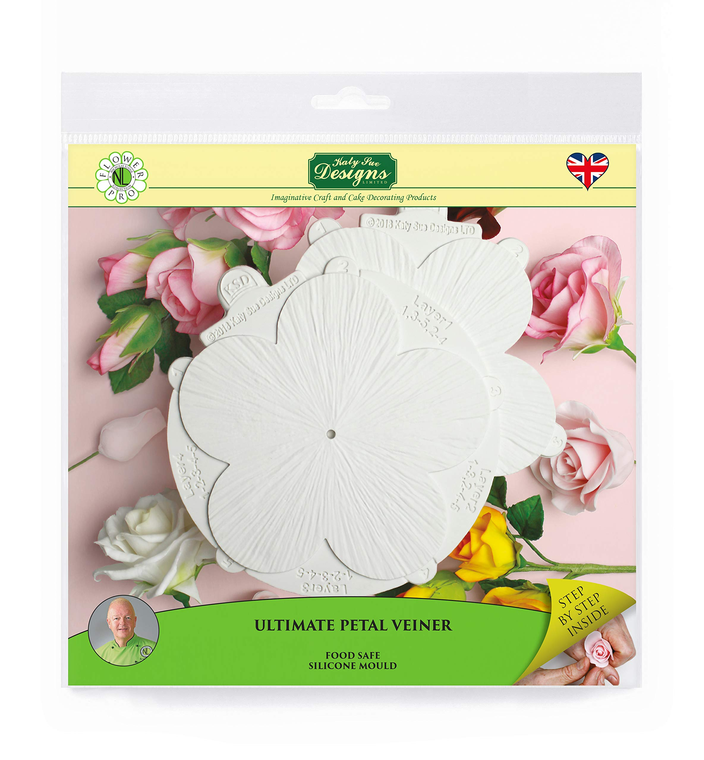 Pro Ultimate Petal Veiner Silicone Sugarpaste Icing Mold, Nicholas Lodge Flower Pro for Cake Decorating, Sugarcraft, Candies and Crafts, Food Safe