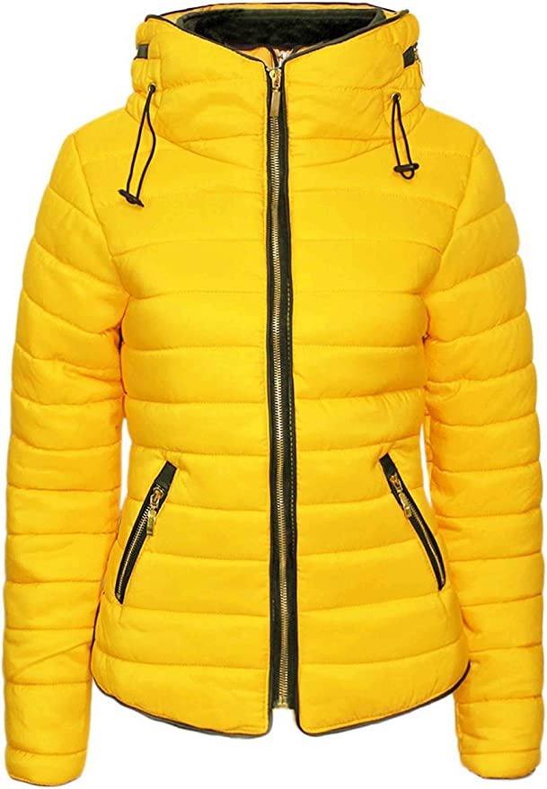 TALLA S. Love My Fashions® Mujer Parka Chaqueta Acolchada Puffer Burbuja with Faux Fur Fitted Collar Señoras Quilted Capucha Manga Larga Dobladillo Curvo Winter De Punto Zip Up Warm Coat Vacaciones De viaje