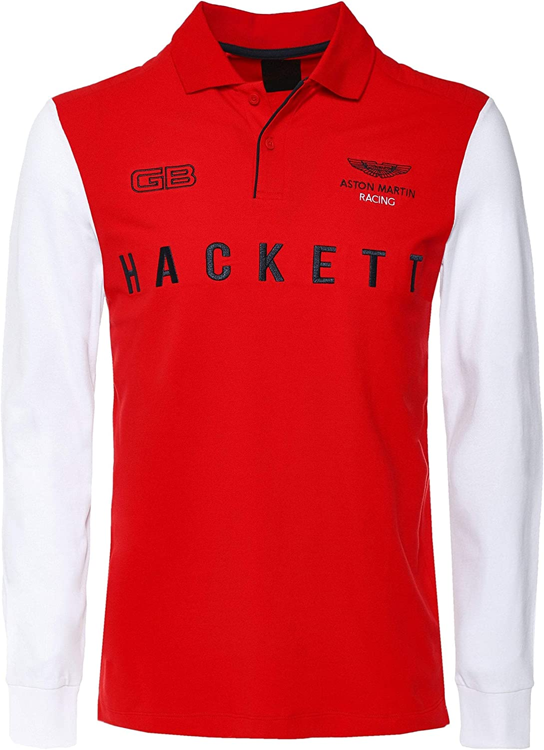 Hackett Mens Long Sleeve AMR Wings Polo Shirt Red