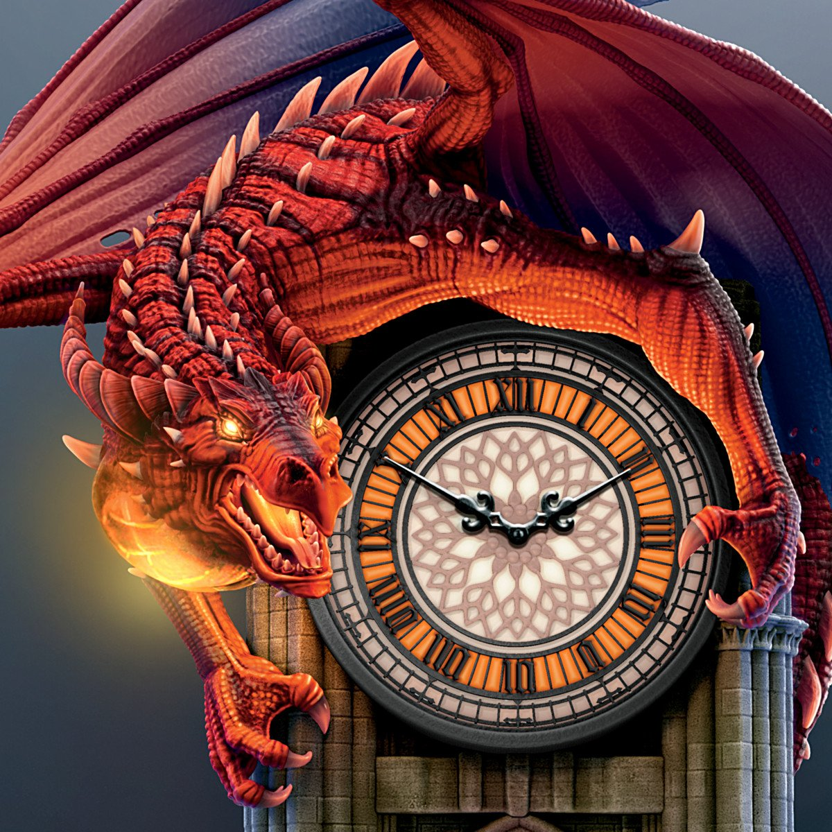 Sculptural Dragon Wall Clock with Gothic Cathedral Case Lights Up and Roars by The Bradford Exchange