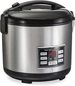 Hamilton Beach Digital Programmable Rice Cooker & Food Steamer, 20 Cups Cooked (10 Uncooked), With Steam & Rinse Basket, Stainless Steel (37543) (Renewed)