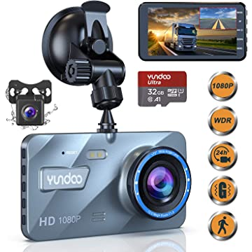 "Dual Dash Cam Car Camera - Contain 32GB SD Card,Full HD 1080P Dash Camera for Cars,4""IPS Screen Dual Wide Angle Lens Car Dash Camera,G-Sensor,Cycle Recording,Parking Monitoring.(2019 Upgraded Version)"
