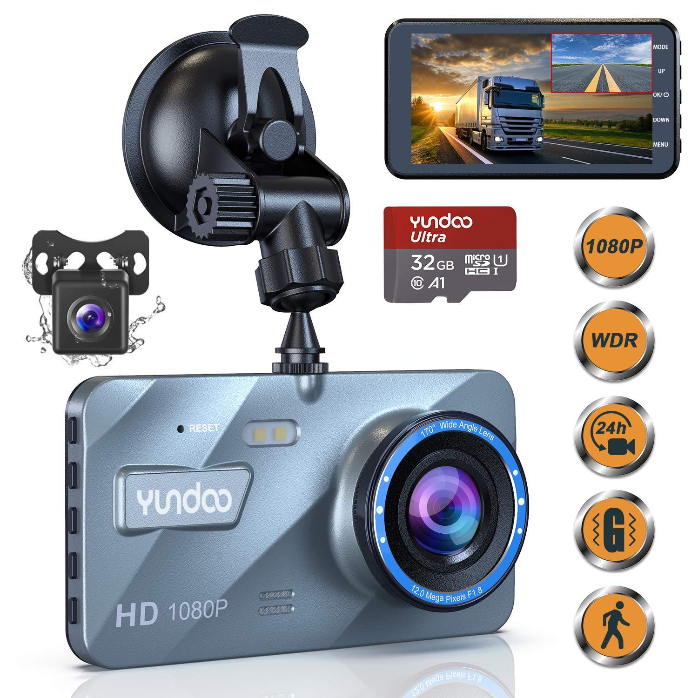 Dual Dash Cam Car Camera - Contain 32GB SD Card,Full HD 1080P Dash Camera for Cars,4''IPS Screen Dual Wide Angle Lens Car Dash Camera,G-Sensor,Cycle Recording,Parking Monitoring.(2019 Upgraded Version) by YUNDOO