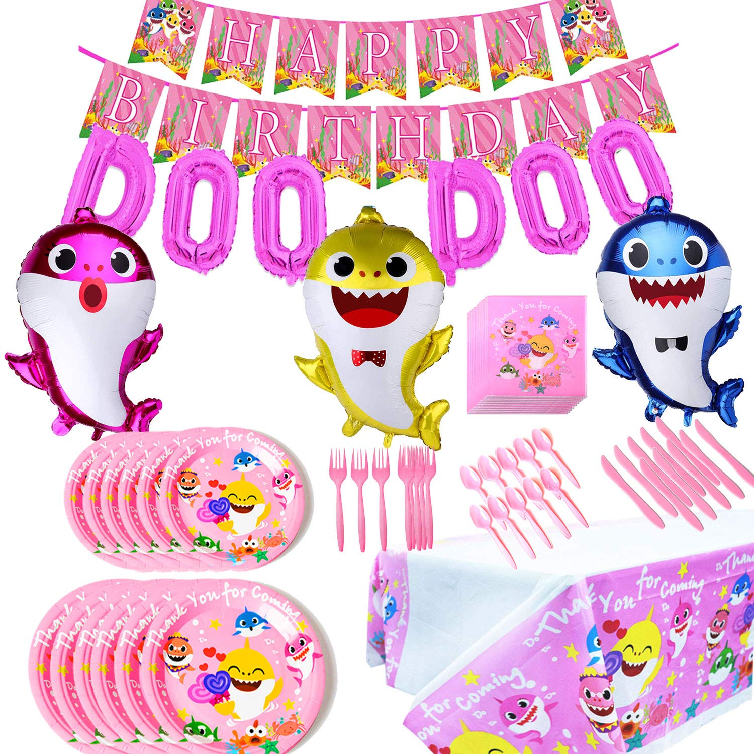 Baby Cute Shark Party Supplies Birthday Decorations Set, Pink for Girls Baby Shark DOO DOO Balloons Happy Birthday Banner Cake Topper Baby Cute Shark Party Décor by BAODAN