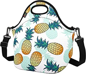 Insulated Lunch Bag, Nuovoware Neoprene Lunch Tote Reusable Picnic Bag Soft Thermal Cooler Tote Multi-purpose Grocery Container with Adjustable Crossbody Strap, Zip Closure, Pineapple