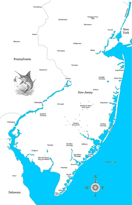 Amazon.com: New Jersey Coastline: Framed Wood Map Wall ...