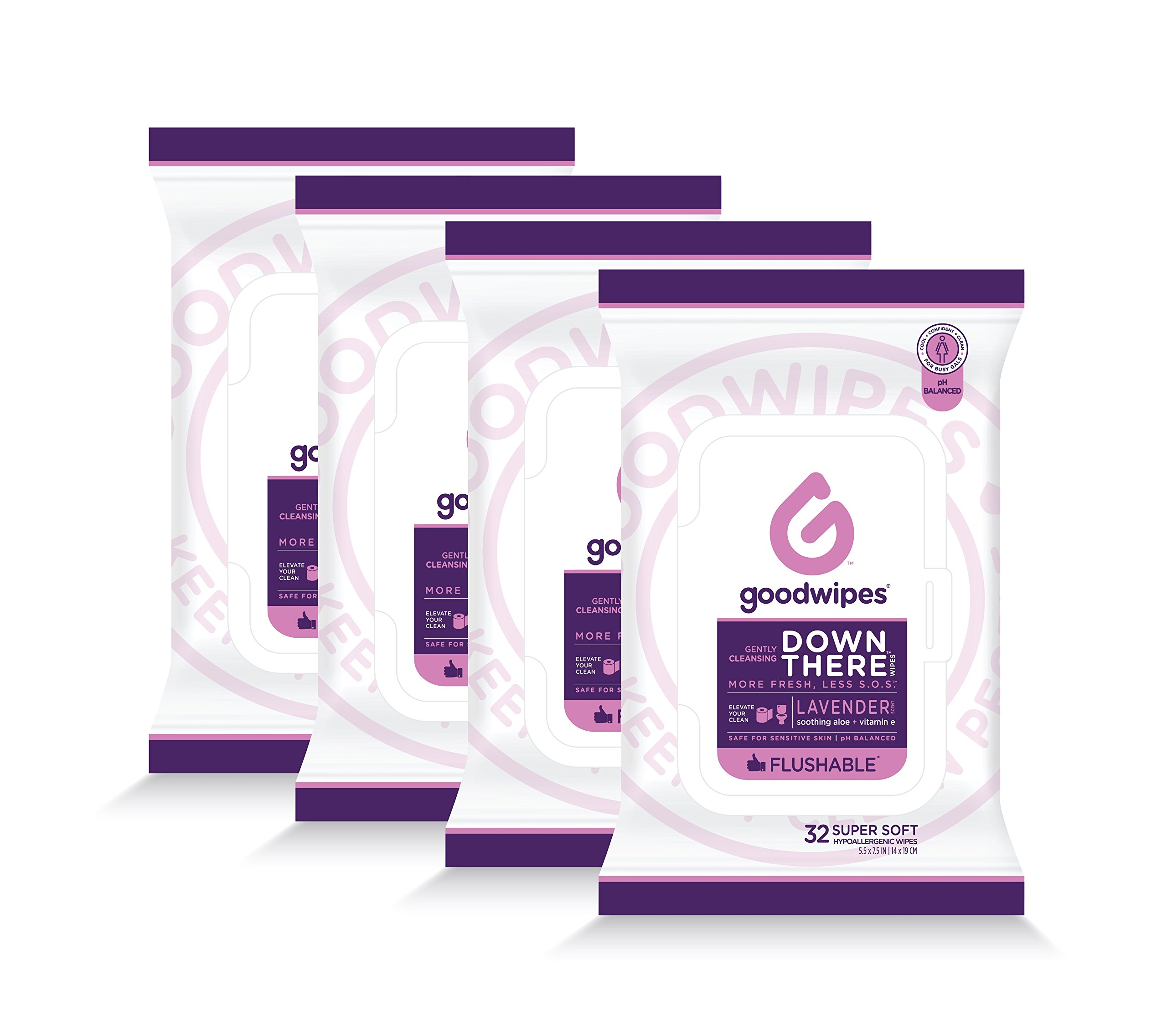 Down There Wipes Womens Flow Pack (Lavender, 128 Wipes (4 Pack))