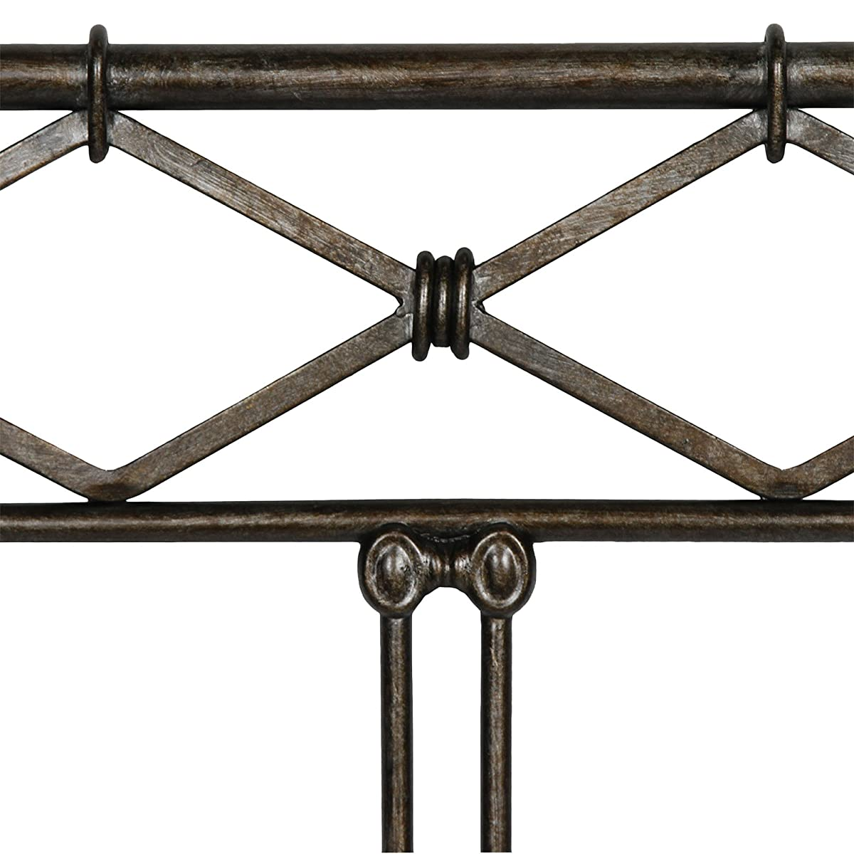 Fashion Bed Group Argyle Headboard with Round Finial Posts and Diamond Wire Metal Grill Design, Copper Chrome Finish, Queen