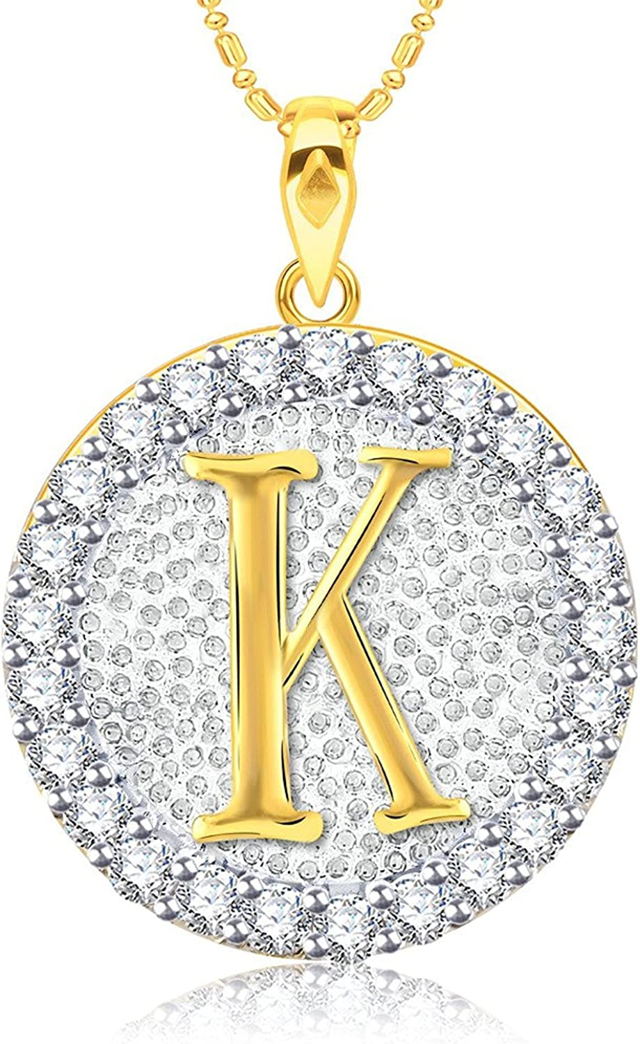 Simulated Diamond Studded Musical Sign Pendant Necklace in 14K Yellow Gold Plated With Box Chain