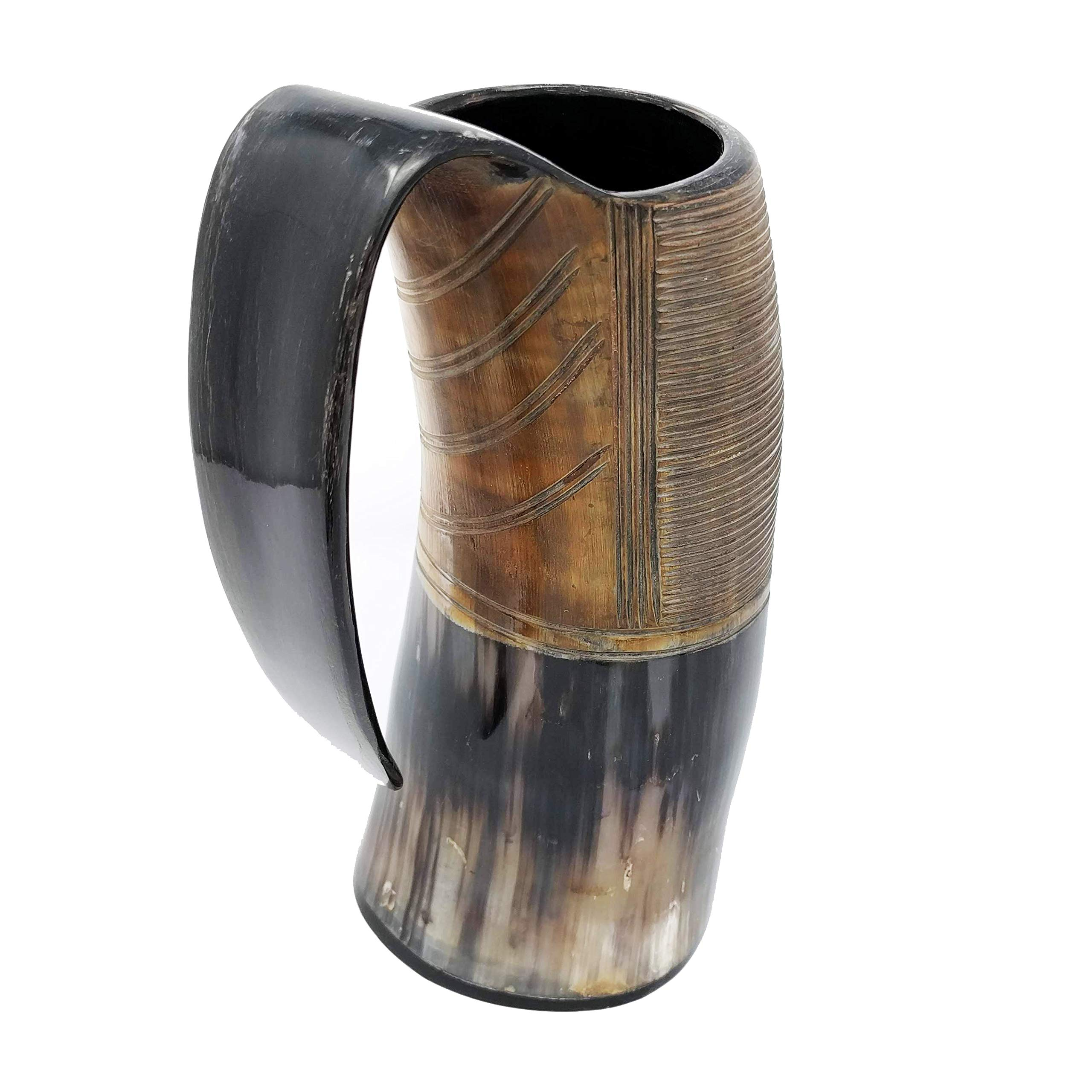 AleHorn – The Original Handcrafted Authentic Viking Drinking Horn Tankard for Beer, Mead, Ale – Medieval Inspired Stein Mug – Food Safe Vessel With Handle (XXL, Burnt)