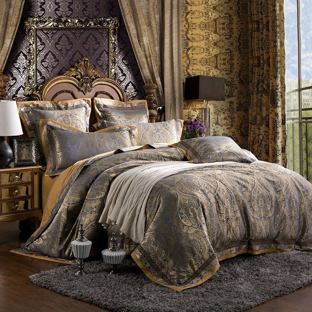 AMWAN Luxury Bohemian Style Queen Duvet Cover Set Floral Jacquard Bedding Set 3 Piece Sateen Cotton Duvet Comforter Cover Set Flower Print Romantic Wedding Duvet Cover Set Queen Bed Set, Style1 FSMP32-Q