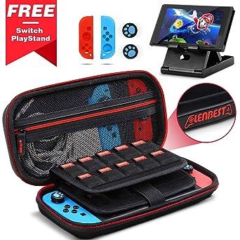 Lenbest Funda para Nintendo, Estuche Para Consola, con 2 pares de protectores de para el pulga, 2 estuches para tarjetas de juego, 1Soporte Ajustable ...