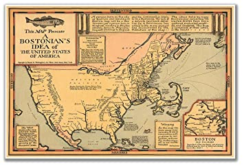 map of a bostonian s idea of the united states of america circa 1930 measures 24 quot
