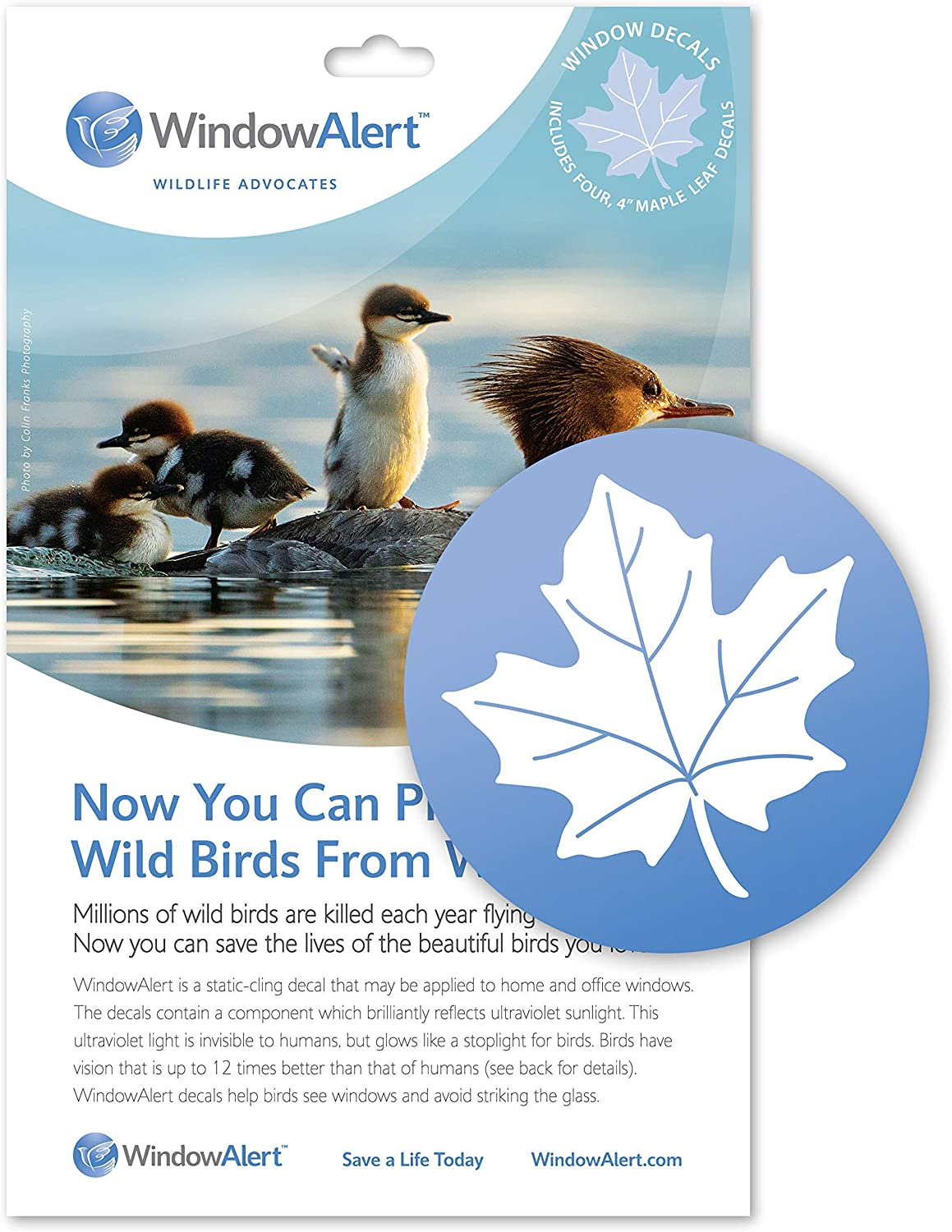 WindowAlert Mapleleaf Anti-Collision Decal - UV-Reflective Window Decal to Protect Wild Birds from Glass Collisions