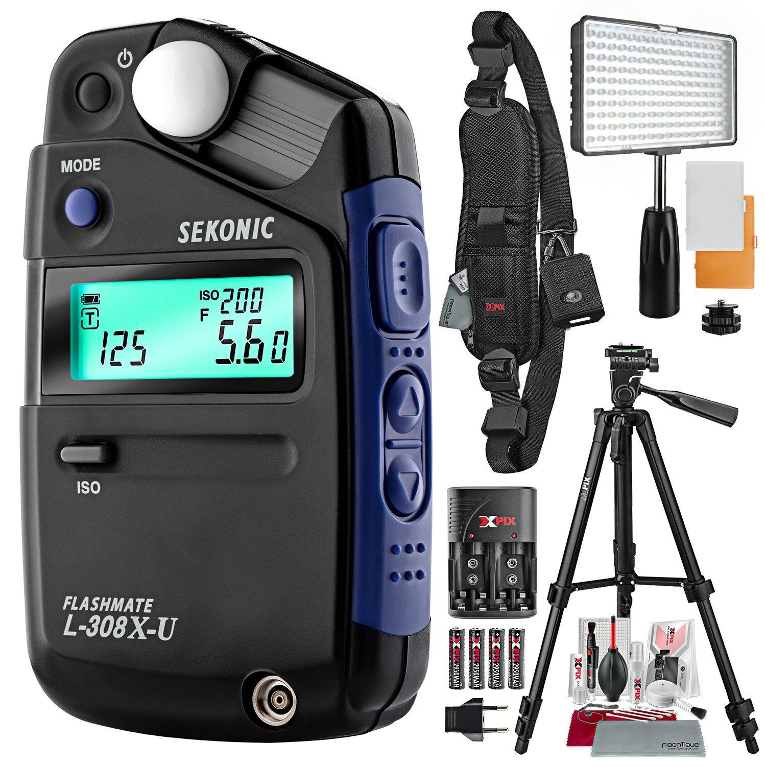 Sekonic L-308X-U Flashmate Light Meter with 160 LED Video Light, Xpix Professional Camera Strap, Platinum Bundle
