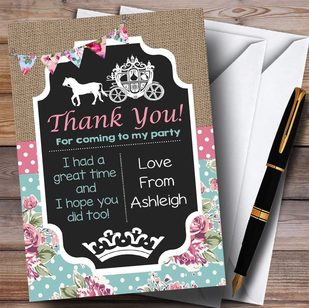 Shabby Chic Vintage Princess Party Thank You Cards
